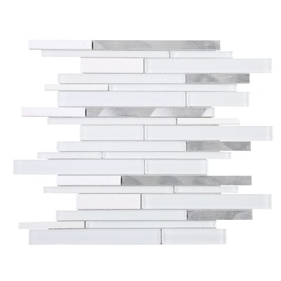 Slender Random Sized Mixed Material Tile in White