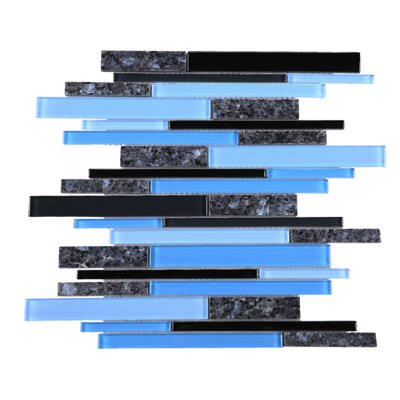 Slender Random Sized Mixed Material Tile in Blue/Black