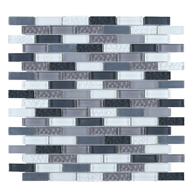 1 x 2 Glass Tile in Gray/Blue