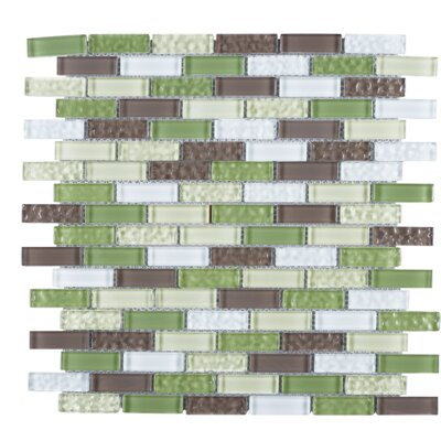 1 x 2 Glass Tile in Green/Brown