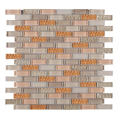 1 x 2 Glass Mosaic Tile in Beige/Orange