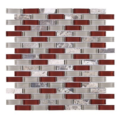 Baby 1 x 2 Glass Tile in Red/Silver