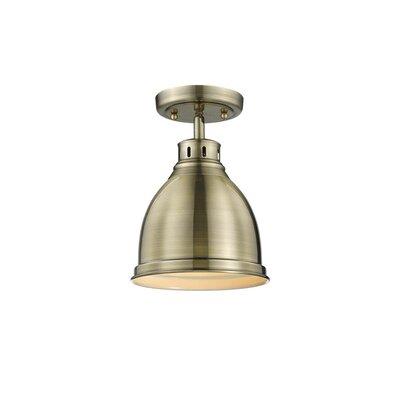 Bodalla 1-Light Semi Flush Mount Finish: Aged Brass with Aged Brass Shade