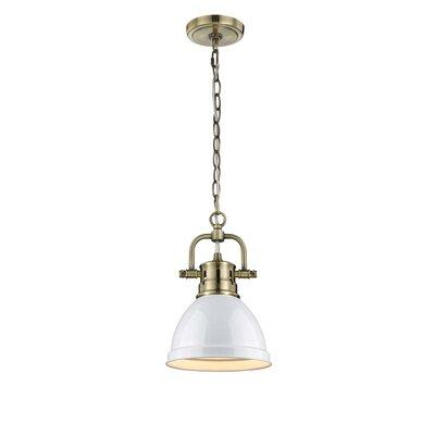 Bodalla 1-Light Mini Pendant Finish: Aged Brass with White Shade