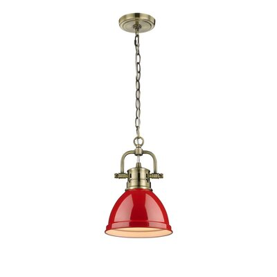 Bodalla 1-Light Mini Pendant Finish: Aged Brass with Red Shade