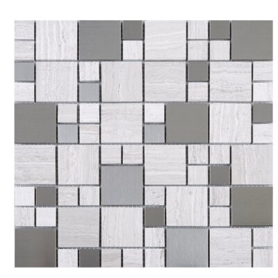 Random Sized Mixed Material Mosaic Tile in Beige/Gray
