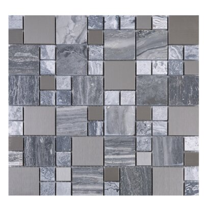 Random Sized Mixed Material Tile in Gray