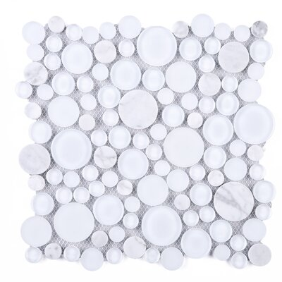 Bubble Random Sized Mixed Material Tile in White
