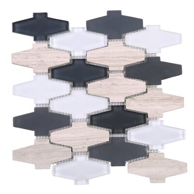 Crossroads 3 x 3 Mixed Material Tile in Beige/Gray