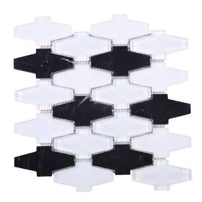 Crossroads 3 x 3 Mixed Material Tile in White/Black