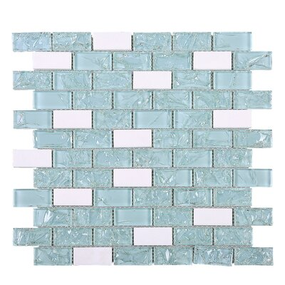 Crushed 1 x 2 Mixed Material Tile in Blue