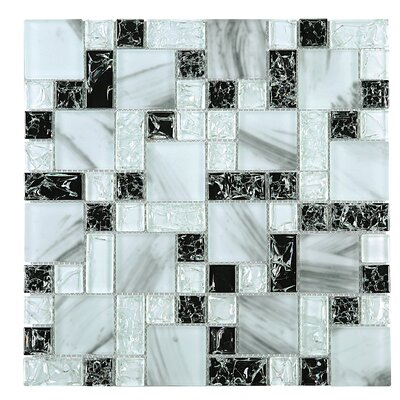 Crushed Random Sized Glass Tile in Blue/Black
