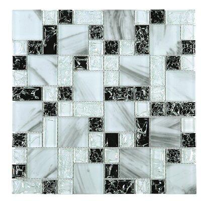 Crushed Random Sized Glass Tile in Blue/Black