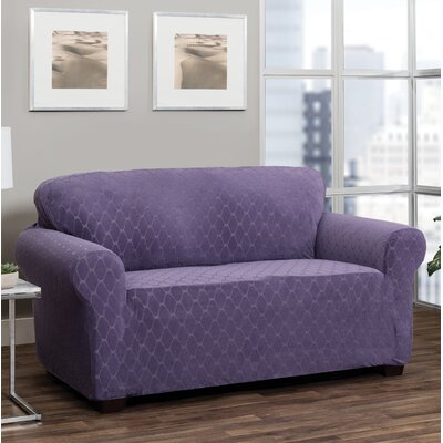 T-Cushion Loveseat Slipcover Upholstery: Grape