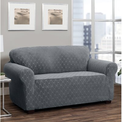 T-Cushion Loveseat Slipcover Upholstery: Gray