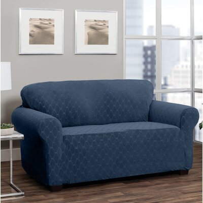 T-Cushion Loveseat Slipcover Upholstery: Navy