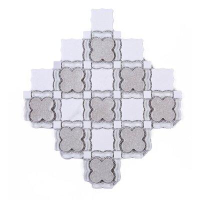 Flower Random Sized Mixed Material Tile in Gray/White