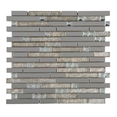 Crystal Mix Random Sized Mixed Material Tile in Gray/Gold