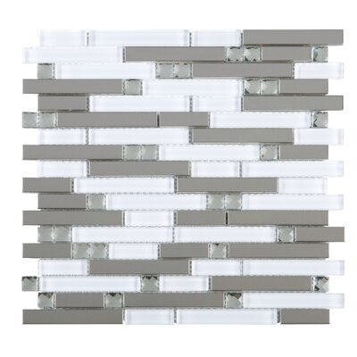 Crystal Mix Random Sized Mixed Material Tile in Gray/White