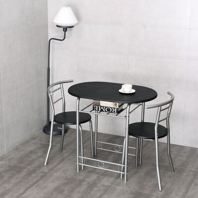 Shingadia Bistro 3 Piece Breakfast Nook Dining Set Color: Black