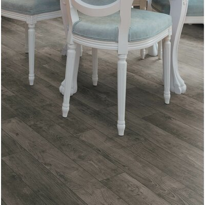 Torre 9 x 48 x 8mm Teak Laminate Flooring in Gray