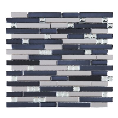 Crystal Random Sized Mixed Material Tile in Blue/White