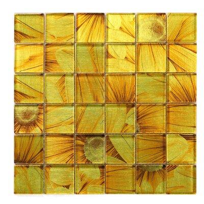 Season Series Sun Flower 2 x 2 Glass Mosaic Tile in Yellow