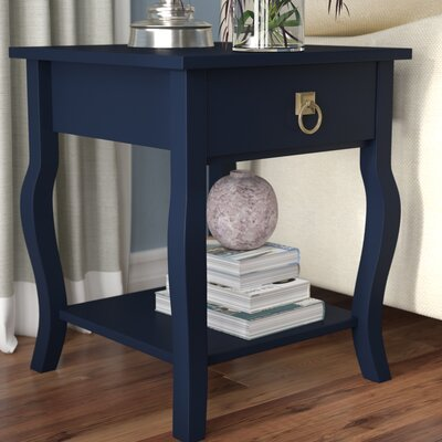 Danby End Table With Storage Color: Satin Navy Blue