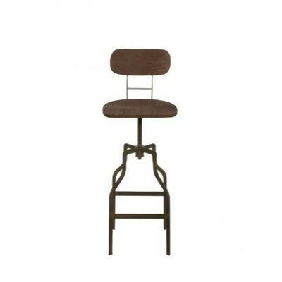 Mccrary Wood and Metal Adjustable Height Bar Stool