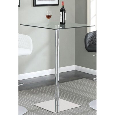 Ralphs Glass and Metal Square Bar Height Pub Table