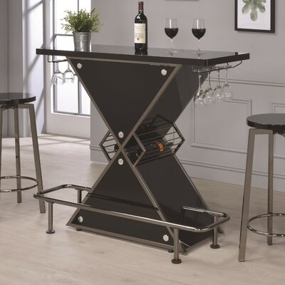 Bretz X-Shaped Bar with Wine Storage Color: Black
