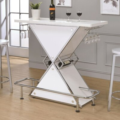 Bretz X-Shaped Bar with Wine Storage Color: White