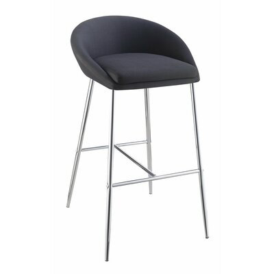 Mcdougle 30.25 Bar Stool Upholstery Color: Black