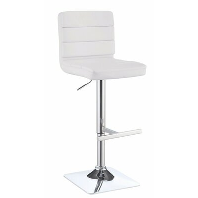 Decoteau Adjustable Height Swivel Bar Stool Upholstery Color: White