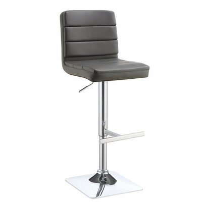 Decoteau Adjustable Height Swivel Bar Stool Upholstery Color: Dark Gray