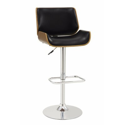 Dylan Adjustable Height Swivel Bar Stool Upholstery Color: Black