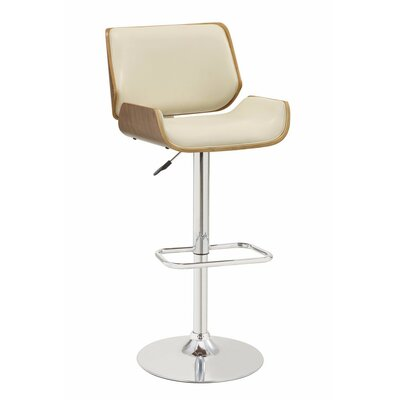 Dylan Adjustable Height Swivel Bar Stool Upholstery Color: Cream