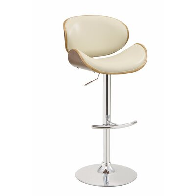 Dysart Adjustable Height Swivel Bar Stool Upholstery Color: Cream