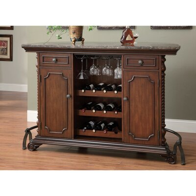 Erroll Wooden Bar with Wine Storage