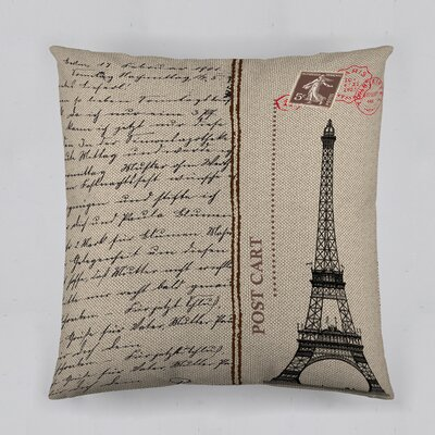 Bonjour Paris! Post Cart Cotton Throw Pillow