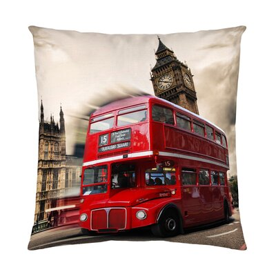 Red Bus Cotton Throw Pillow