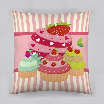 Strawberry Cupcakes Cotton Throw Pillow