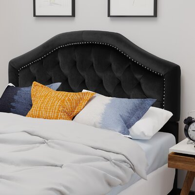 Niven�Upholstered Panel Headboard Upholstery: Black