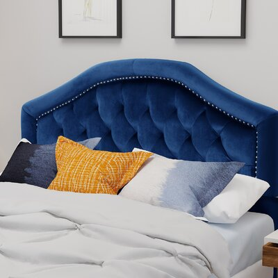 Niven�Upholstered Panel Headboard Upholstery: Navy Blue