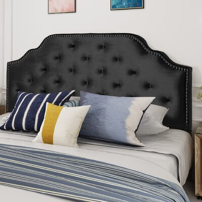 King Upholstered Panel Headboard Upholstery: Black