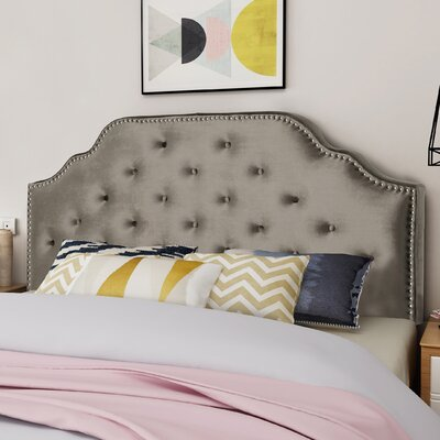 King Upholstered Panel Headboard Upholstery: Gray