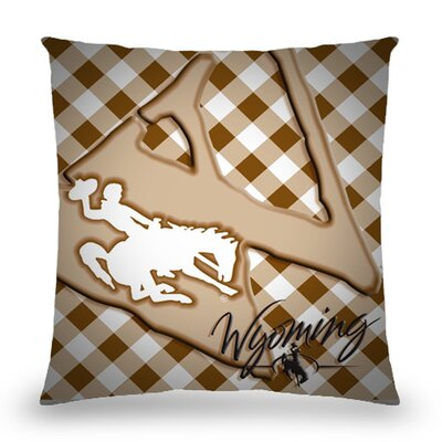 Wyoming Bucking Horse And Rider Cotton Throw Pillow