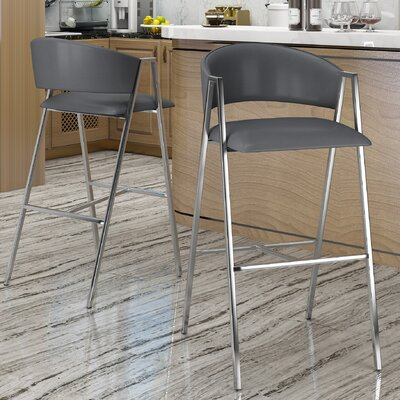 Ansaldi Modern 28 Bar Stool Color: Gray
