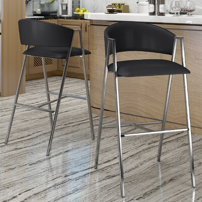 Ansaldi Modern 28 Bar Stool Color: Black