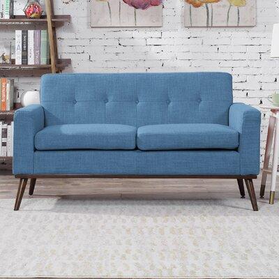 Wargo Mid Century Modern Loveseat Upholstery: Blue